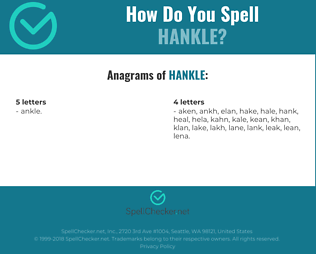 Correct spelling for Hankle