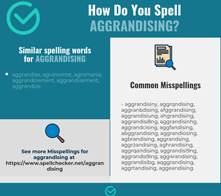 Correct spelling for aggrandising