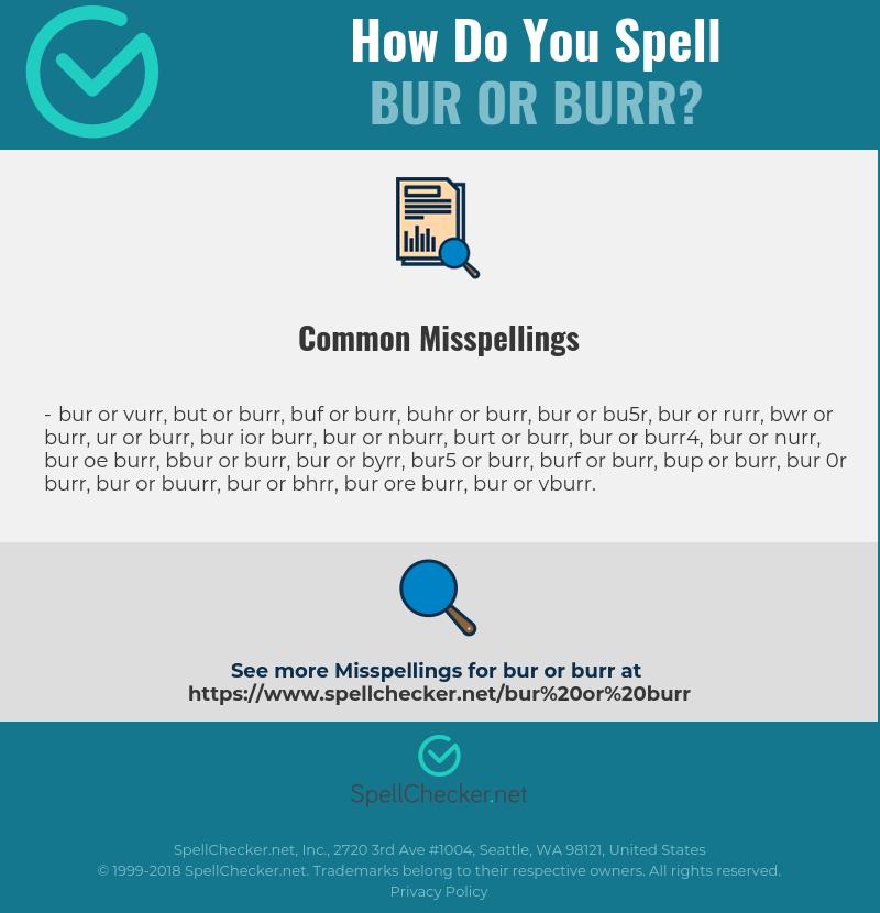 Correct spelling for bur or burr [Infographic