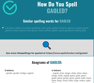Correct spelling for gaoled