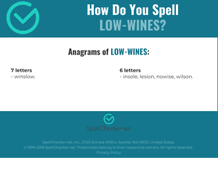 Correct spelling for low-wines