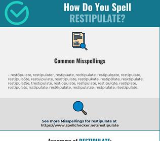Correct spelling for restipulate