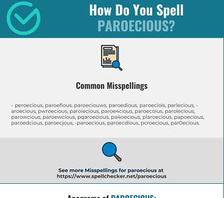Correct spelling for paroecious