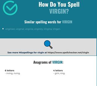 Correct spelling for virgin