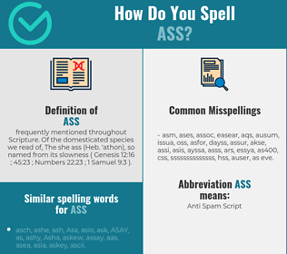 Correct spelling for ass