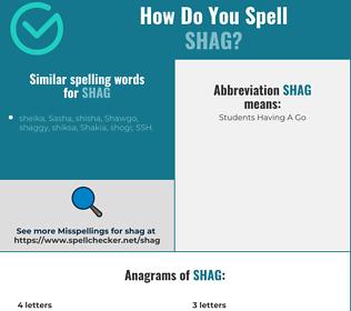 Correct spelling for shag