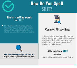 Correct spelling for shit