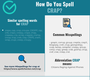 Correct spelling for crap