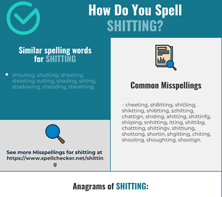 Correct spelling for shitting
