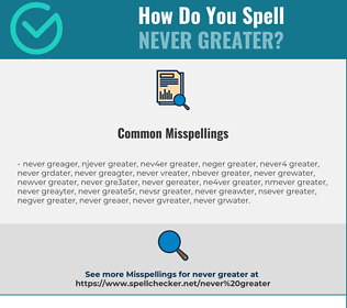 Correct spelling for never greater