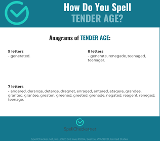 Correct spelling for tender age