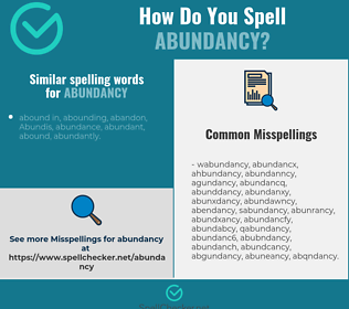 Correct spelling for abundancy