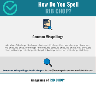 Correct spelling for rib chop