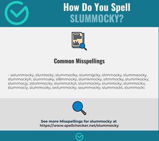 Correct spelling for slummocky