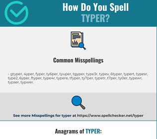 Correct spelling for typer