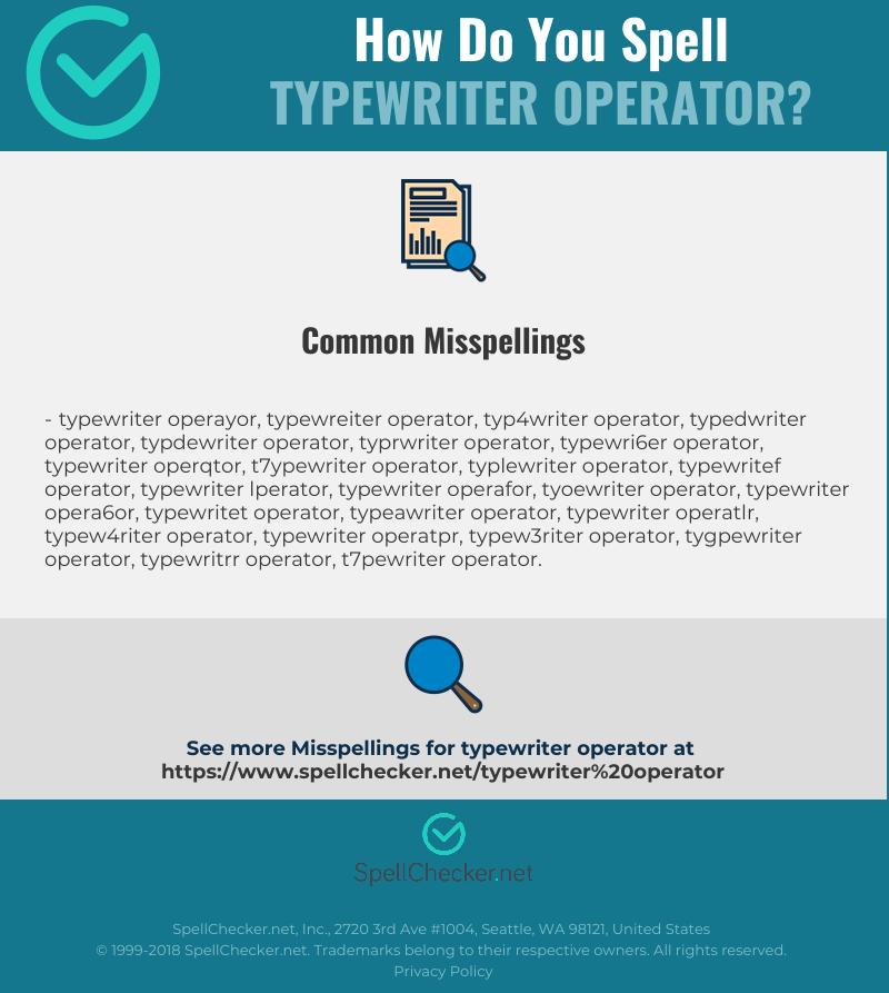 Correct Spelling For Typewriter Operator Infographic Spellchecker Net