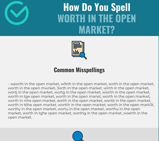 Correct spelling for worth in the open market