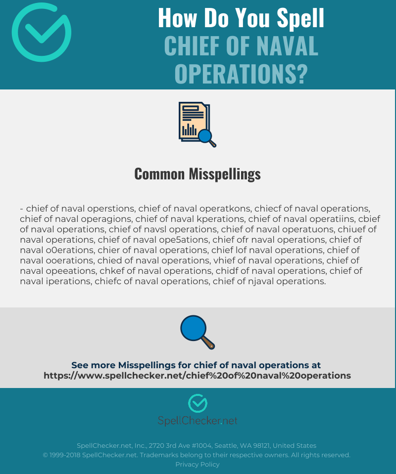 Correct spelling for chief of naval operations [Infographic