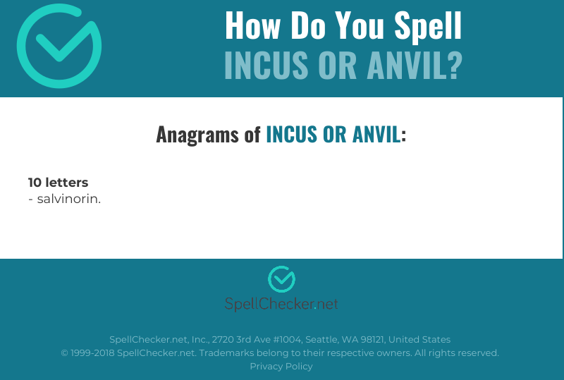 Correct spelling for incus or anvil | Spellchecker net