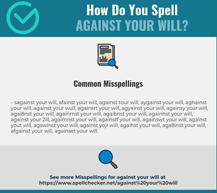 Correct spelling for against your will