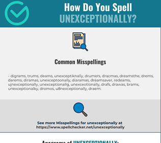 Correct spelling for unexceptionally