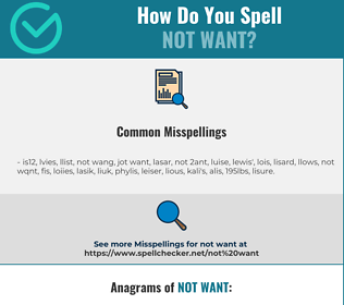 Correct spelling for not want