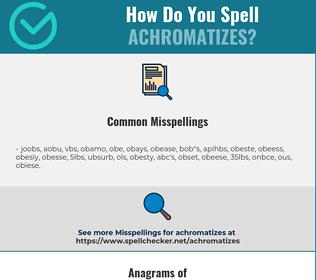 Correct spelling for achromatizes