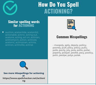 Correct spelling for actioning