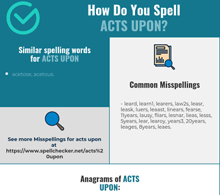 Correct spelling for acts upon