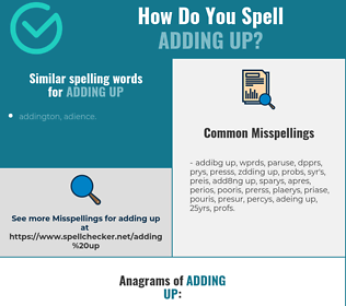 Correct spelling for adding up