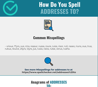 Correct spelling for addresses to
