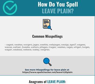 Correct spelling for leave plain