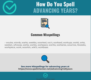 Correct spelling for advancing years
