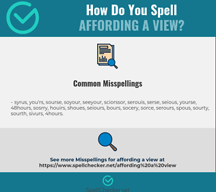 Correct spelling for affording a view