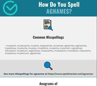 Correct spelling for agnames