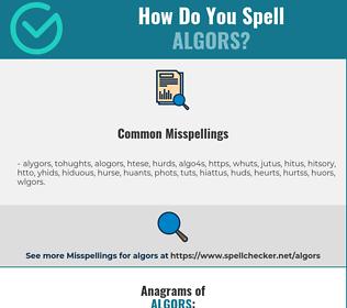 Correct spelling for algors
