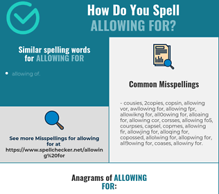 Correct spelling for allowing for