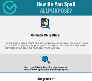 Correct spelling for allpurpose
