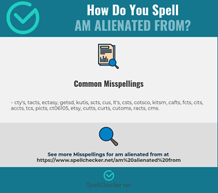 Correct spelling for am alienated from