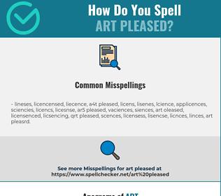 Correct spelling for art pleased