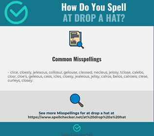 Correct spelling for at drop a hat