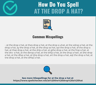 Correct spelling for at the drop a hat
