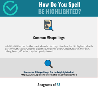 Correct spelling for be highlighted