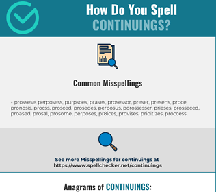 Correct spelling for continuings