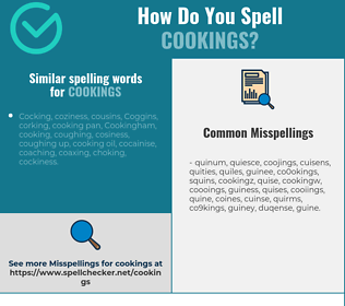 Correct spelling for cookings