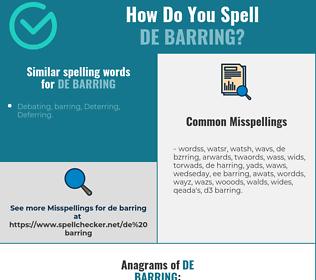 Correct spelling for de barring