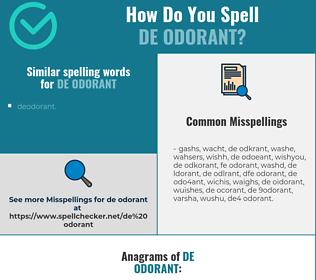 Correct spelling for de odorant