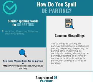 Correct spelling for de parting