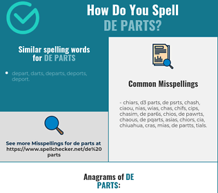 Correct spelling for de parts