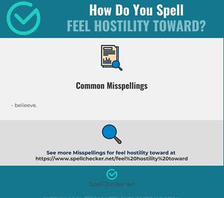 Correct spelling for feel hostility toward